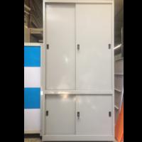 TỦ SẮT ĐỰNG HỒ SƠ VĂN PHÒNG 4 CÁNH LÙA TOLE - tủ cao 1830mm,rộng 915mm,sâu 457mm - sắt sơn tĩnh điện - ghi bạc